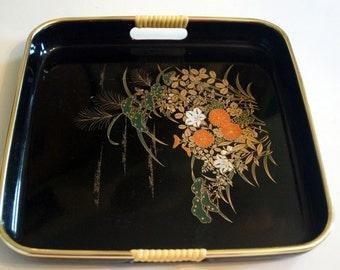 Vintage Oriental Flowers Motif Plastic Tray Black