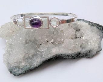 Amethyst Gemstone Bangle Bracelet - Silver Plated