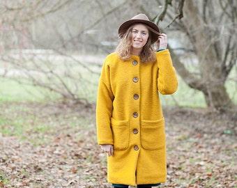 Women's Wool Coat, Yellow Winter Coat, Wool Coat Women, Winter Coat, Long Coat, Coat With Pockets, Coat With Buttons