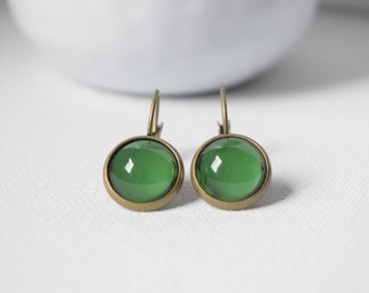 Earrings cabochons-sleepers - Green - dark green - green fir - 61