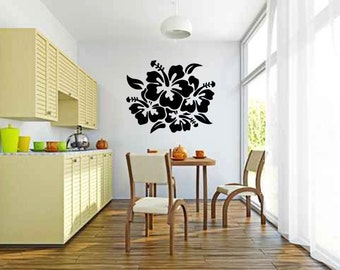 Large Hibiscus Flowers Vinyl Wall Decal Sticker Graphic