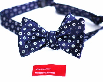 Silk SELF TIED Bow Tie in Floral with Blonde Yellow Capri Blue White Dots on Navy