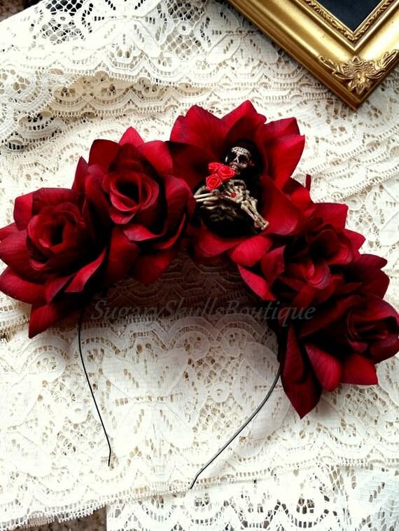 Book of life dia de los muertos wedding headband sugar skull for Sugar skull wedding dress