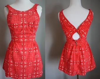 1950's Swimsuit // Red Bandana Print // Small