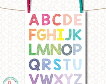 Rainbow Alphabet 8X10 Print