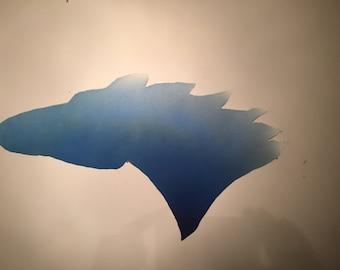 Blue and white galvanized horse head