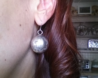 Silver Etched Dangle Earrings