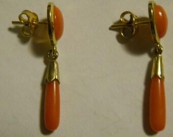 Lovely Pair Genuine Coral Drop Earrings- Vintage-Peirced