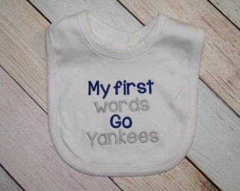 New York Yankees Baby Bib - Yankees Baby Girl - Yankees Baby Boy - Embroidered Baby Bib - Baby Shower Gift - New York Baby - Go Yankees