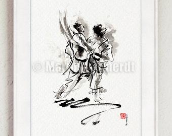 Karate Poster, Kumite, Full Contact, Japanese Martial Art, Mens Gift, Surreal Painting, Kyokushin Karate