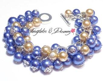 Navy Blue & Champagne Pearl bracelet Set - Earrings - Beaded Cluster Bracelet - Pearl Jewellery -  UK