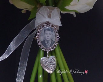 Your Always In My Heart Charm -  Bridal Bouquet Photo Charm, Memorial Charm, 25x18 Photo