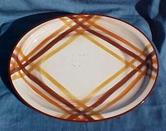 "Metlox - Vernonware Division 13"" Oval Serving Platter - Butterscotch / Organdie Pattern"