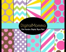 Whimsical Garden Owl Digital Paper Pack, 300 DPI High Quality Printable Papers!