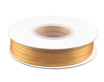 1/8 Inch Double Faced Satin Ribbon - Old Gold - 100 Yard Spool