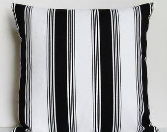 Black White Stripe Pillow Cover Decorative 16x16 18x18 20x20 22x22 12x16 12x18 12x20 14x22 Throw Accent Lumbar Zipper