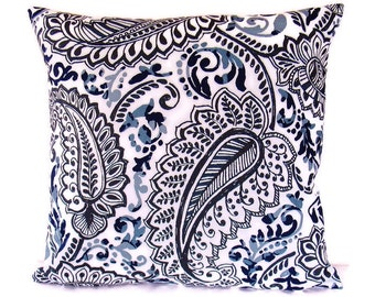 Navy Blue Gray Paisley Pillow Cover White Decorative Throw Toss Accent Sofa 16x16 18x18 20x20 22x22 12x16 12x18 12x20 14x22 Zipper