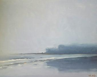Cool, Misty Morning at Hobuck Beach- Original Monochrome Seascape Oil Painting- Pacific Northwest Coast- Washington Shore at Dawn