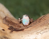Spectacular 18K Rose Gold and Diamond ring. 1.21 carat fiery Australian Opal hand picked. One-of-a-Kind, Handmade