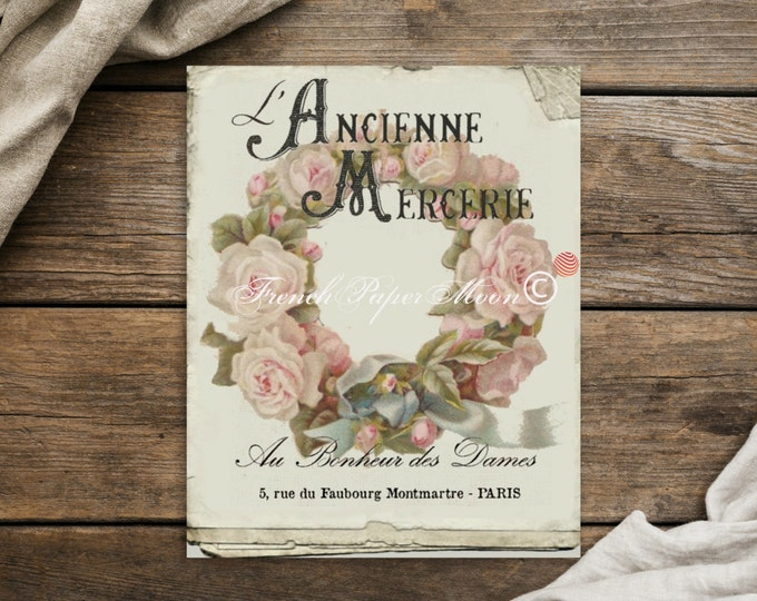 Shabby Chic Antique French Wreath Print, French Graphics, rose Wreath, Photographic Paper, Print