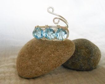 Sterling Silver Blue Crystal Wrap Ring/Wire Wrapped Blue Crystal Ring
