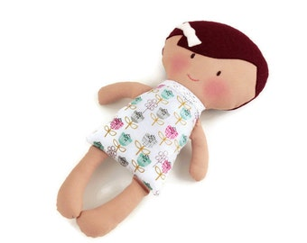 Rag doll, mini cloth doll, the perfect baby first doll, deep red hair colour, fabric doll - handmade in Ireland
