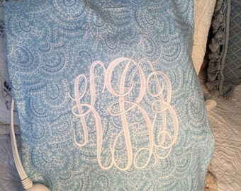 Monogrammed blue paisley flannel heating pad cover