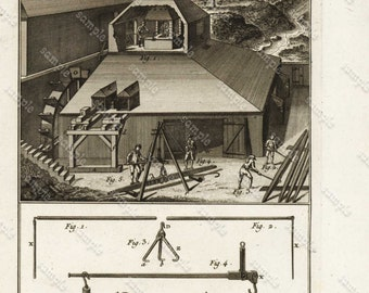DIDEROT / PANCOUCKE  Original   From the first Edition - Detailed copper engraved prints - Fer Grosses Forges- Big iron Forges