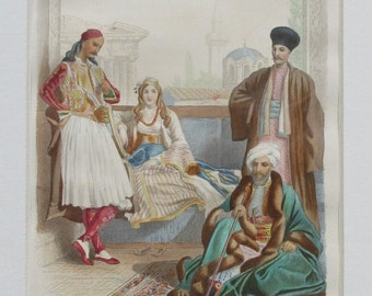 Hand colored 1859 Costume print - Greece and Turkey  -Decorative Art- Fashion Matted