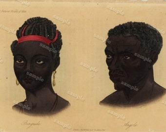 1844  Original Antique Engraving of Human Race Native of Benguela, Angola  Hand colored
