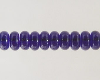 Transparent Dark Blue Lampwork Glass Bead Spacers