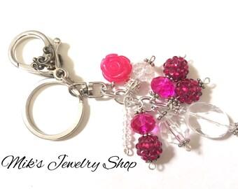 bag charm key fob keychain key chain purse charm flower charm key charm cute keychain boho keychain handbag charm charm keychain pink flower