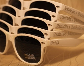 Personalized White Sunglasses for wedding favors/bridal party gifts for outside ceremony or reception or photo booth