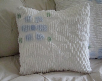 "REDUCED PRICE-White Tufted Chenille Pillow Cover With Blue Flower Design for 14"" Pillow Insert Was 20.00 Now 15.00"