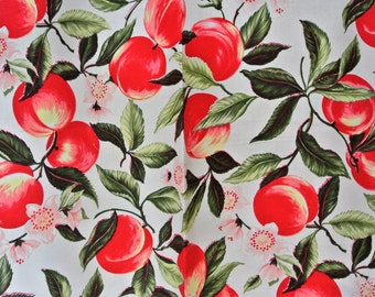 Pair of Swedish retro vintage 1980s highquality cotton curtains with large printed red/ green fruit design pattern on bone white bottom