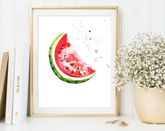 Watermelon Print, Fruit Wall Art, Watercolor Art Print, Kitchen Decor, red decor, Watercolor Watermelon Print, watermelon printable