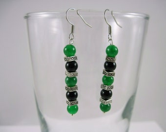 Black, Green, and Silver Beaded Earrings