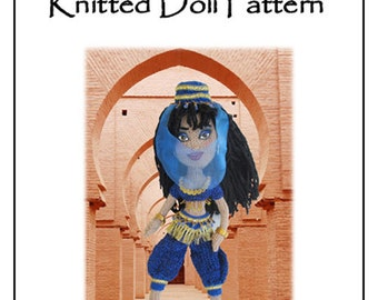 Instant Download Knitted Doll Pattern. Hand knitted Belly Dancer Doll, I dream of Jeannie doll pattern. Genie doll.