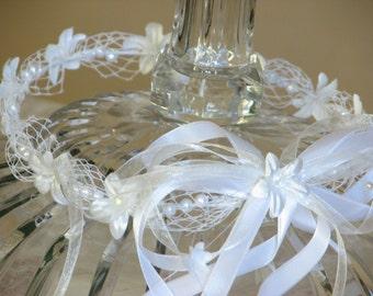 Communion wreath White hair wreath White hair crown Holy communion wreath Girls crown Wedding hair wreath Communion hair flower Hair garland