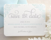 The Zinnia Suite - Letterpress Save the Date, Wedding Announcement, Blue, Grey, Laurel, Script, Simple, Modern, Flowers, Floral, Classic