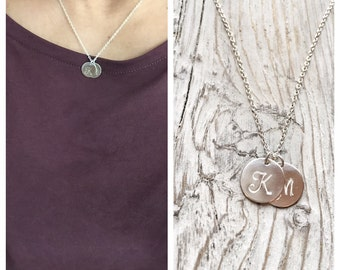 Monogram Initial Necklace - Mommy Necklace - Sterling Silver Disk Necklace
