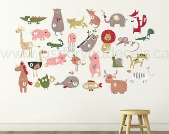 Alphabet Nursery Wall Decal - Playroom Wall Decal - Childrens Wall Decals - Play Room Wall Decal - Custom Decal - Wall Sticker 01-0021