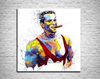 Canvas Print Arnold Schwarzenegger Art Print, Bodybuilding Fitness Inspiration, Abstract Modern Portrait, Modern Wall Art