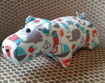 Plush Stuffed Hippo (Nautical) -Stuffed Animal Hippo-Stuffed Animal - Baby Shower Gift - plush hippo