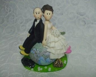 Custom bride and groom  travel wedding cake topper