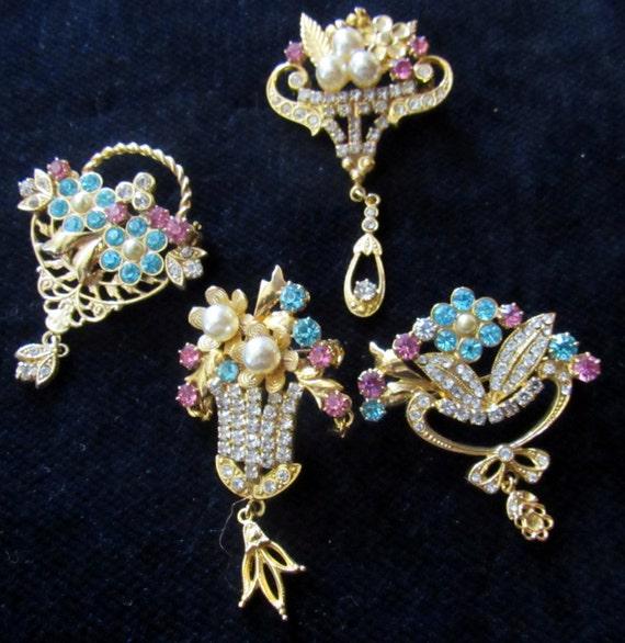 Czechoslovakia brooches rhinestones - set of four