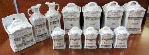 German Salt Box Lustre Set with rare salt box, oil & vinegar pitchers, spices etc.  12 pices
