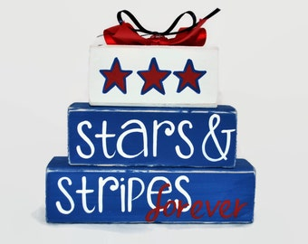 July 4th Stars and Stripes Forever Independance Day WoodenBlock Shelf Sitter Stack