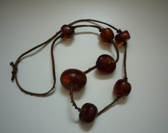 Rare Vintage Natural Baltic Amber 7 Bead Leather Necklace