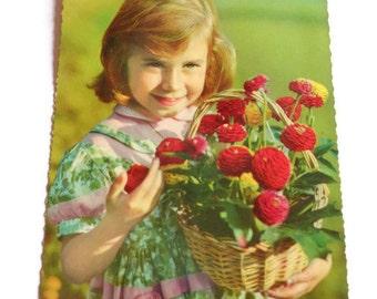 Vintage Children's 1960's Postcard . Retro Photo Postcard 60s . Little Girl . Vintage Postcard . Old Postcard .